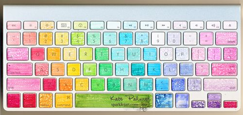 Copic coloured Apple keyboard