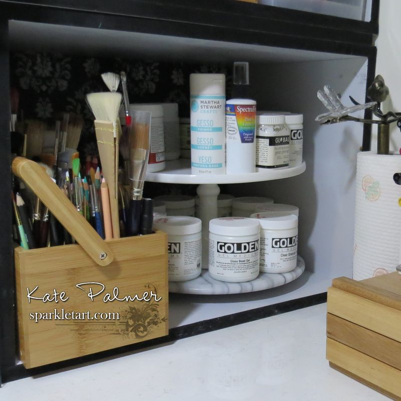 Two layer Lazy Susan paint holder