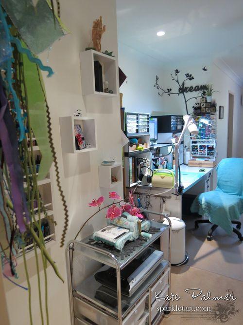 View of craft desk from door