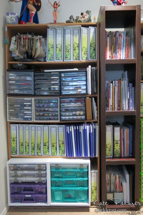 Craft room shelving left
