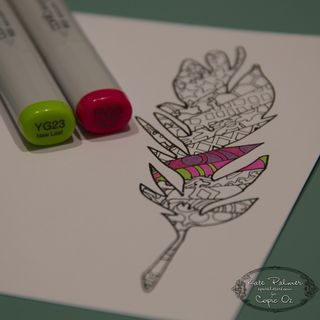 Copic Doodled Feather Card-7