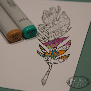 Copic Doodled Feather Card-9