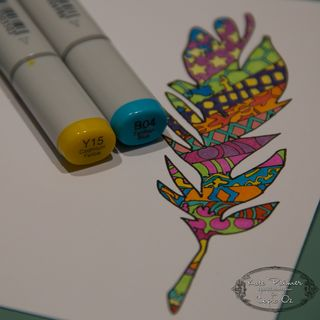 Copic Doodled Feather Card-16