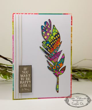Copic Doodled Feather Card-17