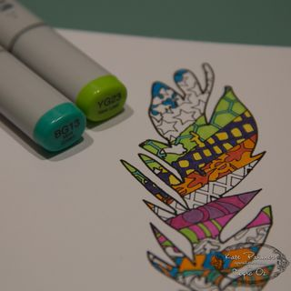 Copic Doodled Feather Card-12