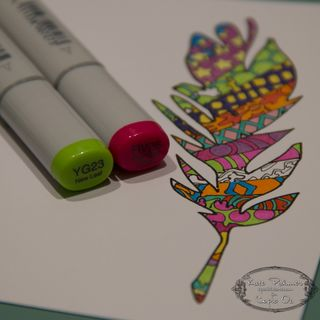 Copic Doodled Feather Card-14