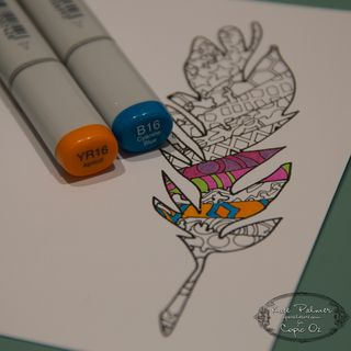 Copic Doodled Feather Card-8