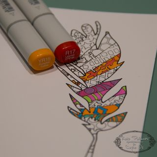 Copic Doodled Feather Card-10