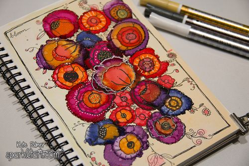 Copic Various Ink Doodled Flowers-4 wm