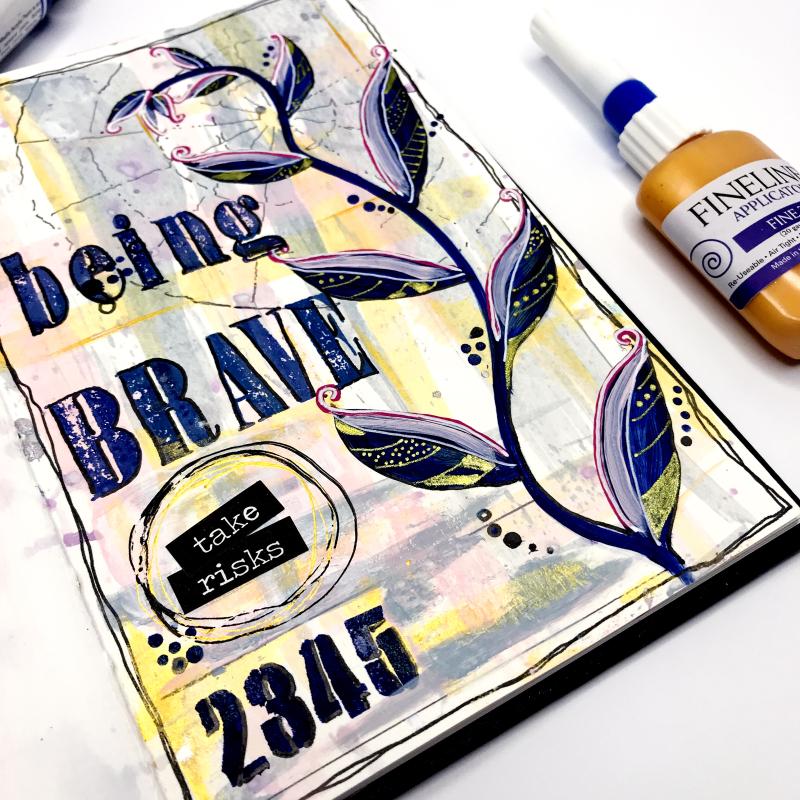 Dina Wakley Acrylic Paint Journal Page 3